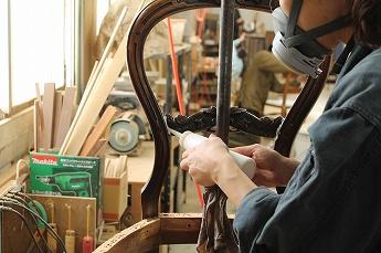 アンティークチェアの修理工程