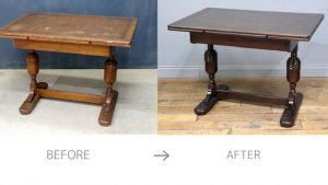 ドローリーフテーブルの修理前と後